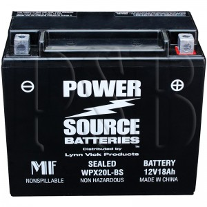 WPX20L-BS Motorcycle Battery replaces 65989-97A for Harley