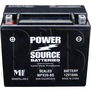 WPX20-BS Motorcycle Battery replaces 65991-75A for Harley