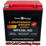 WPX30L-NG 30ah 600cca Battery replaces Yuasa YTX30L-BS, YTX30LBS