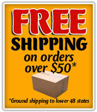 Free shipping on orders over $50 (ground shipping to lower 48 states)